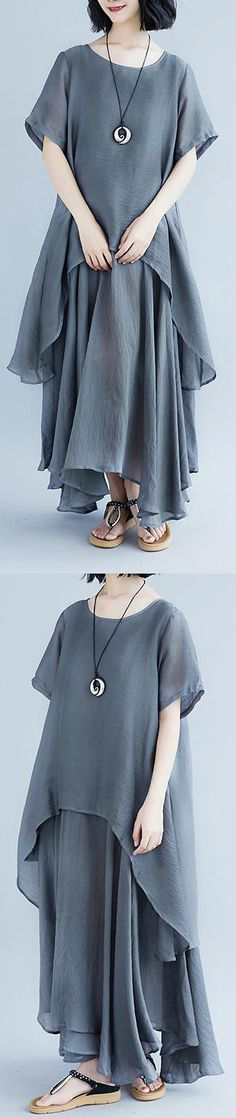 boutique-linen-dresses-oversize-Casual-Short-Sleeve-Gray-Pockets-Fake-Two-piece-Dress