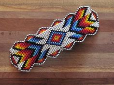 Your place to buy and sell all things handmade Native American Beaded Hair Barrette Beaded Barrette Native Beading Patterns, Beadwork Designs, Native Beadwork, Native American Beadwork, Loom Bracelet Patterns, Beaded Earrings Patterns, Bead Loom Patterns, Bead Earrings, Beaded Necklace
