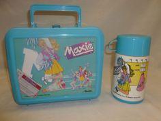 Vtg 80s 1988 Aladdin Maxie Barbie Cheerleader Lunchbox Lunch Pail Thermos Blue