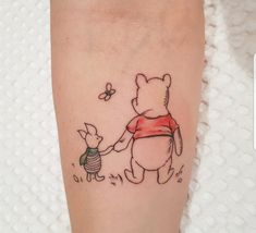 Winnie the Pooh and Piglet Tattoo designed and done by artist Toni Jiang at Etch Studio in NZ Matching Disney Tattoos, Disney Tattoos Small, Matching Best Friend Tattoos, Small Tattoos, Disney Inspired Tattoos, Body Art Tattoos, Sleeve Tattoos, Ink Tattoos, Tatoos
