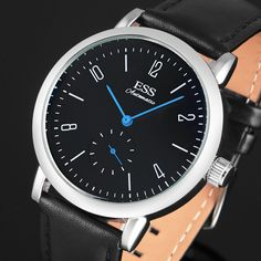 ESS Minimal Simple Bauhaus Mechanical Automatic Black Dial Blue Hand Watch #ESS #Casual