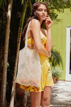 Urban Outfitters Woven Cotton Net Tote Bag - Neutral One Size