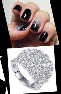 Pair this sparkling black nail polish and diamond accent with a gorgeous 14k White Gold Clustered Diamonds Ring.