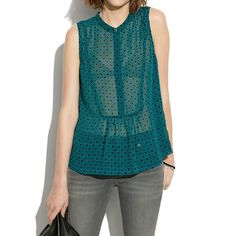 Madewell  Silk Shirtfront Tank In Floralstamp