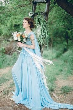 Serenity Bohemian Sky blue chiffon wedding dress or by LiluBridal