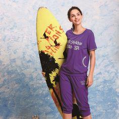 Summer 100% women's casual sports cotton lounge set a31409b