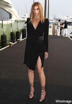 Carine Roitfeld in vintage dress & Alaia sandals heels LBD black