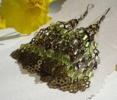 Smokey Quarz and Glass Crystals Earrings with Antique by juta230, $36.95