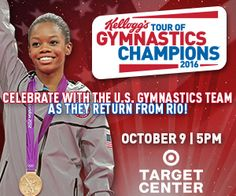 Kellogg's Tour of Gymnastics Champions - WIN TICKETS from Macaroni Kid. 2016 tour at Target Center in Minneapolis on Sun. Oct. 9 at 5 p.m. sponsored - Enter through September 24th, 2016