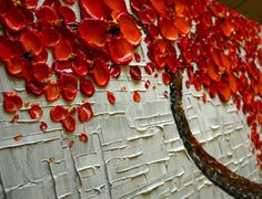 ORIGINAL Tree Painting 48 Abstract Contemporary Red by Artcoast