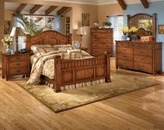 The medium brown oak stained finish is beautifully accented by the mortise through ornamentation to create the rustic beauty of finely crafted mission styled bed. Description from charlotteappliance.com. I searched for this on bing.com/images
