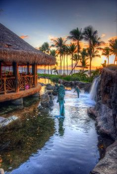"""Try Maui's Grand Wailea. Options include 3 bedroom luxury villas equipped with kitchen, soaking tubs, and grill. Nine pools, a """"baby beach,"""" 7 water slides, waterfalls, and rapids are heaven for families."""