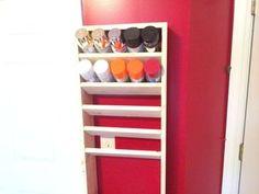 Spray Paint Rack Improvements: 5 Steps (with Pictures) Spray Paint Storage, Spray Paint Furniture, Spray Paint Cans, Diy Furniture, Spray Painting, Paint Organization, Organizing, Storage Rack, Garage Storage