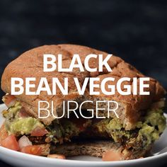 Bean Burger This Black Bean Burger Recipe is PACKED with vegetables and flavor and is super quick and easy to make. All you need is 10 minutes and a food processor! This Black Bean Burger Recipe is PACKED with vegetables and flavor and Tasty Vegetarian Recipes, Vegan Dinner Recipes, Veggie Recipes, Whole Food Recipes, Healthy Recipes, Veggie Food, Easy Veggie Burger Recipe, Yummy Vegan Food, Recipes With Goat Cheese