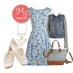 In this outfit; Be Outside Dress in Birds, Around Downtown Jacket, Maine Street Style Bag, In Good Shape Necklace, Marina Ballerina Flat #jeanjacket #stripes #birds