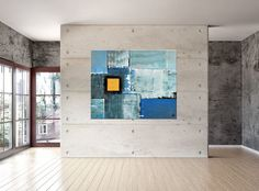 abstract painting large urban blue grey painting by EttisGallery