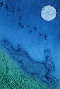 """Swift as a Hare"" - Collagraph print by Hester Cox"