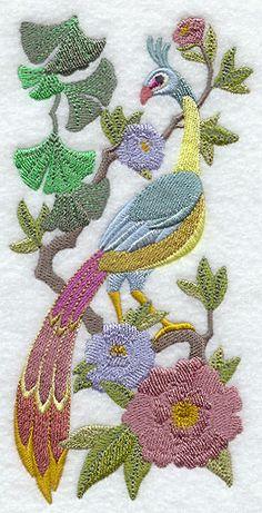 Chinoiserie Green Peafowl Panel
