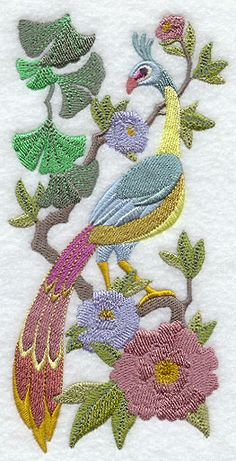 Chinoiserie Green Peafowl Panel
