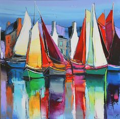 1208 - Toutes voiles dehors - 80x80 Nautical Painting, Sailboat Painting, Mediterranean Paintings, Boat Art, Landscape Paintings, Watercolor Art, Sailing, Artwork, Arts