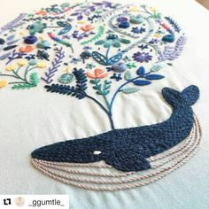 "1,461 Likes, 11 Comments - Jamie Chalmers (@mrxstitch) on Instagram: ""Hope you're having a whale of a time this weekend! #regram @_ggumtle_ #handembroidery #whales…"""