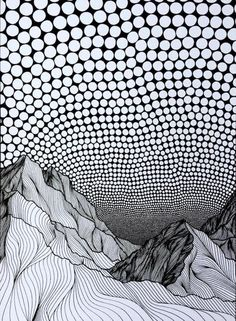Christa Rijneveld combina líneas y puntos para ilustrar la belleza de las montañas