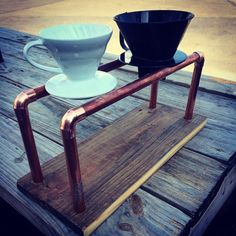 definately want for the waiting room. Copper and reclaimed wood pourover coffee kit by SoilandOak