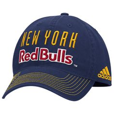 ce944c52977 Youth New York Red Bulls adidas Red Navy Authentic Structured Flex ...