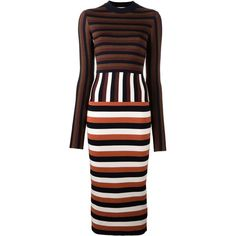 Victoria Beckham Multi Stripe Dress featuring polyvore, women's fashion, clothing, dresses, blue, striped dress, calf length dresses, midi dresses, striped midi dress and victoria beckham dresses