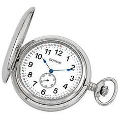 Gotham Men's Silver-Tone Double Hunter Deluxe Pocket Watch at price: Deluxe 54 inch) diameter double hunter chrome plated brass pocket watch suitable for engraving Precision 17 jewel small seconds hand Mechanical Pocket Watch, Mechanical Hand, Gotham, Quartz Pocket Watch, Beautiful Watches, Silver Man, Chrome Plating, Pocket Watches, Jewels
