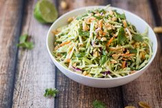 Thai Peanut-Ginger Slaw. I liked this far more than I thought I would. I used a whole lot more of the dressing (big surprise) and added a good dose of sesame hot chili oil. Oh, and I prefer it at room temp rather than chilled.