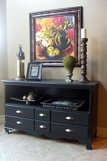 upcycling old dresser with paint (top drawer removed to create shelf)