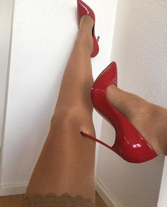 Hot Selling Red Patent Leather High Heel Pumps Pointed Toe Metal Blade Heels Pumps Women Shoes Slip-on Banquet Pumps Hot Heels, Sexy High Heels, Frauen In High Heels, Beautiful High Heels, Sexy Legs And Heels, High Heels Stilettos, High Heel Boots, Womens High Heels, Stiletto Heels