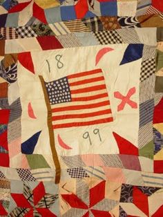 1899 (antique quilt - maker unknown) Cute Quilts, Old Quilts, Antique Quilts, Vintage Quilts, Scrappy Quilts, Small Quilts, Flag Quilt, Patriotic Quilts, Quilt Blocks