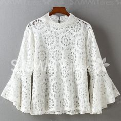 Graceful Flare Sleeve Stand-Up Collar Solid Color Hollow Out Blouse For Women Long Shirt Outfits, Peplum Gown, Estilo Preppy, Lace Top Dress, Pakistani Fashion Casual, Lace Outfit, Embroidery Fashion, African Wear, African Fashion Dresses
