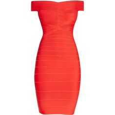 Herve Leger Kaelyn Off-Shoulder Bandage Dress (€915) ❤ liked on Polyvore featuring dresses, off-the-shoulder dress, zipper dress, bandage dress, red cocktail dress and rayon dress