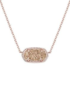 Elisa Pendant Necklace in Rose Gold Drusy – Kendra Scott Jewelry