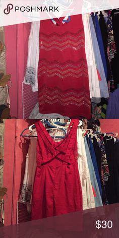 Dress Tight red dress. Gold silver and black embellishment. Open cross cross back. Wore once for New Years Dresses Mini