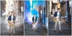 Knoxville | TN | Senior boy | Outdoors | Senior pictures | Pixel Chicks Photography | GQ | Stairs | Senior boy pose | guitar | smoke bomb |