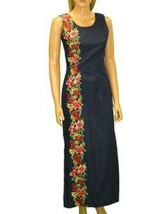 Maxi Long Tank Aloha Dress Border Design Manele – Twisted Palms Trading Co.