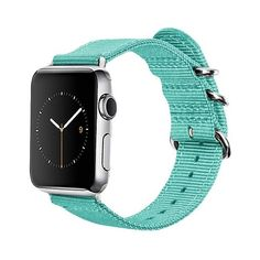 Monowear Turquoise Nylon with Polished Silver Stainless Steel Adapter... ($40) ❤ liked on Polyvore featuring turquoise