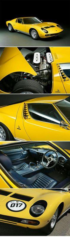 1972 Lamborghini Miura SV Coupé Coachwork by Carrozzeria Bertone - Yellow Car Lamborghini Miura, Exotic Sports Cars, Classic Sports Cars, Best Classic Cars, Porsche, Retro Cars, Vintage Cars, Maserati, Yellow Car
