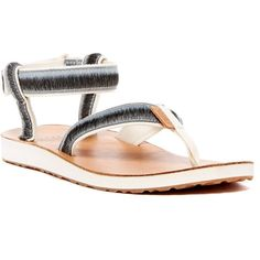 Teva Original Ombre Thong Platform Sandal ($37) ❤ liked on Polyvore featuring shoes, sandals, wht, ankle strap platform shoes, platform sandals, toe-loop sandals, ankle strap sandals and teva