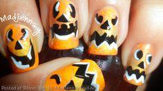 By+Madjennsy+Nail+Art.+DIY+Pumpkin+Face+~+Halloween+Nail+Art  Video+Tutorial http://youtu.be/qRLK5-r7u5o  #nails+#nailart+#halloween+#pumpkin+#HalloweenBeauty+@Bloom.com