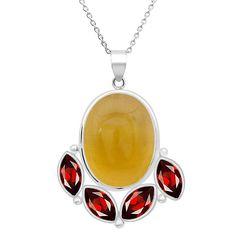 Orchid Jewelry 17.35 Carat Lemon Quartz and Garnet Sterling Silver Handmade Pendant Necklace