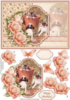 WE JUST WANT TO BE FRIENDS Decoupage Sheet on Craftsuprint designed by Janet Briggs - Kitten and dogs card topper, with 3d step by step rose decoupage.Features a lovely vintage image of a kitten in a plant pot, with 2 puppies wanting to play and roses. Optional butterfly embellishment.2 sentiment tags, one blank and Happy BirthdayNOTE A coordinating insert is available. - Now available for download!