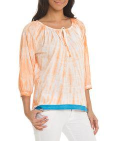Coral Tie-Dye Scoop Neck Top by Larsen Grey #zulily #zulilyfinds