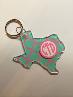 State of Texas Keychain Monogrammed Keychain by LemonLaneBoutique