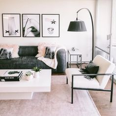 #DiyCraftsForRoomDecor Boho Living Room, Living Room Sets, Living Room Furniture, Living Room Designs, Living Room Decor, Bedroom Decor, Dining Room, Black Floor Lamp, Apartment Living