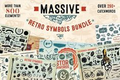 Massive Retro Symbols Bundle-90% Off  @creativework247